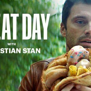 Sebastian Stan Eats a Donut Dorito Hot Dog Pizza | Cheat Day | Men's Health